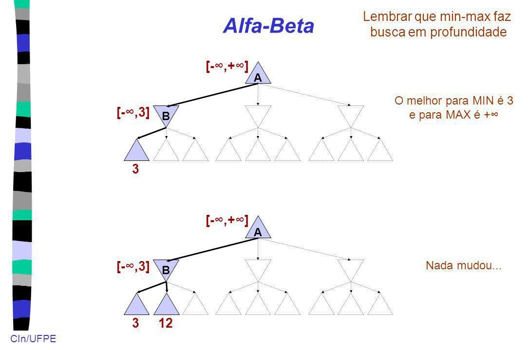 Alfa-Beta Lembrar que min-max faz busca em profundidade [-∞,3] [-∞,+∞]